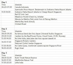 Itinerary Singapura 6 hari 5 malam 1