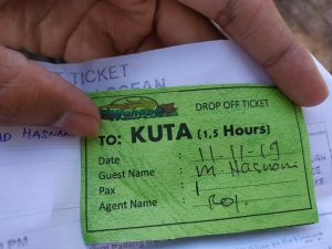 Tiket drop off shuttle bus