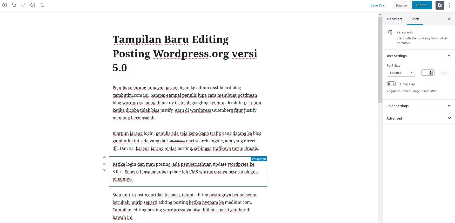 editing posting wordpress 5.0